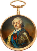 Timepieces:Pocket (pre 1900) , Bordier à Geneve, Quarter Hour Gold Repeating Verge Fusee With Enamel, circa 1830. ...