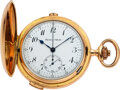 Timepieces:Pocket (post 1900), Swiss, 18k Gold Quarter-Hour Repeater With Chronograph, circa 1905. ...