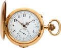 Timepieces:Pocket (post 1900), Audemars Freres, Fine Gold Quarter Hour Repeater With Chronograph, circa 105. ...