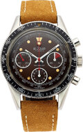 Timepieces:Wristwatch, Le Jour, Rare Steel Chronograph With Glossy Brown Tropical Dial, Valjoux 7736/2. ...
