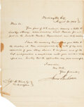 """Autographs:U.S. Presidents, James Buchanan Letter Signed. One page, 7.75"""" x 10..."""
