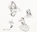Works on Paper, George Condo (b. 1957). Untitled (Three Figures), 1985. Ink on paper. 12 x 13-1/2 inches (30.5 x 34.3 cm); sheet. Signed...