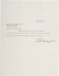 Autographs:Authors, Jerome D. Salinger Typed Letter Signed. One page,...