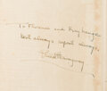 Autographs:Authors, Ernest Hemingway Signed Copy of A Farewell to Arms....