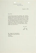 Autographs:U.S. Presidents, Dwight D. Eisenhower Typed Letter Signed. One pag...