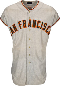 1958 Willie Mays Game Worn San Francisco Giants Jersey, MEARS A7.5