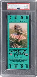 Football Collectibles:Tickets, 2002 Super Bowl XXXVI Full Ticket Signed by Tom Brady, Autograph Mint 9. ...