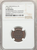 1863 H. Linck, Dry Goods, Civil War Store Card, Brookville, Indiana, Fuld-140A-1a, R.7 -- Environmental Damage -- NGC De...
