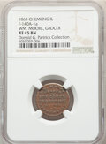 1863 Wm. Moore, Grocer, Civil War Store Card, Chemung, Illinois, Fuld-140A-1a, R.7, XF45 NGC. Ex: Donald G. Partrick Col...