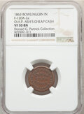 1863 O.H.P. Ash's Cheap Cash Store, Civil War Store Card, Bowling Green, Indiana, Fuld-120A-2a, R.7, VF30 NGC. Ex: Donal...