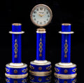 Silver & Vertu, A Three-Piece 14K Vari-Color Gold, Guilloché Enamel, and Diamond-Mounted Clock Garniture in the Manner of Fabergé, late 20th...