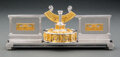 Silver & Vertu, A Yossi Swed Silver Channukah Set, 20th century . Marks: (S over D cipher), (D butterfly S), ISRAEL, R.H., (various). 2-...