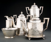A William Gale & Son Five-Piece Silver Coffee and Tea Service, New York, circa 1865 Marks: FORD & TUPPER, 925 ST...