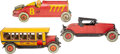 Collectible, Three Vintage J. Chein and Company Hercules Tin Toy Vehicles, circa 1925-1930. Marks: (various). 19-1/4 x 6-3/4 ... (Total: 3 Items)