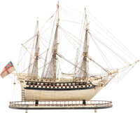 A Carved Bone Napoleonic Prisoner-of-War Ship HMS Alexander Model, circa 1795-1815