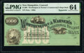 Obsoletes By State:New Hampshire, Concord, NH- Worthington & Warner's Commercial College Bank $1000 186_ Remainder Schingoethe UNL PMG Choice Uncirculated 6...