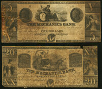 Augusta, GA- Mechanics Bank $5; $20 1853-61 Very Good. ... (Total: 2 notes)
