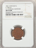 1861 A. Candler, Watches, Civil War Store Card, Chicago, Illinois, Fuld-150I-3a, R.6, MS64 Red and Brown NGC. Ex: Donald...