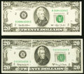 Error Notes, Error New York $20 Federal Reserve Notes Choice Crisp Uncirculated.. Face Gutter Fr. 2066-B 1963A VF-XF;. Cutting Erro... (Total: 2 notes)