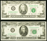 Error New York $20 Federal Reserve Notes Choice Crisp Uncirculated. Face Gutter Fr. 2066-B 1963A VF-XF; Cutting Erro...