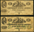 Confederate Notes:1862 Issues, T43 $2 1862 PF-1 Cr. 338 Very Good-Fine;. T42 $2 1862 PF-3 Cr. 336 Very Good.. ... (Total: 2 notes)