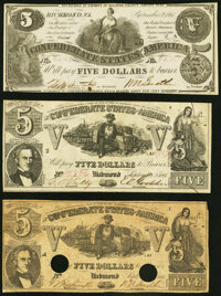 T36 $5 1861 PF-2 Cr. 274 Choice About Uncirculated; T37 $5 1861 PF-1 Cr. 284 Very Good-Fine; T37 $5 1861 PF-2 Cr. 28...
