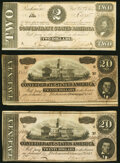 Confederate Notes:1864 Issues, T67 $20 1864 PF-4 Cr. 506 Very Fine;. T67 $20 1864 PF-11 Cr. 511 Very Fine;. T70 $2 1864 PF-7 Cr. 568A Fine-Very Fine.... (Total: 3 notes)