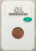 1916 1C MS67 Red and Brown NGC. CAC. One of just three Superb Gem Red and Brown pieces at NGC and the only 1916 cent in...