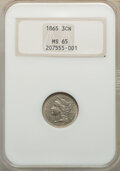 1865 3CN MS65 NGC. NGC Census: (143/25). PCGS Population: (139/63). CDN: $375 Whsle. Bid for NGC/PCGS MS65. Mintage 11,3...
