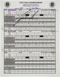 Golf Collectibles:Autographs, 1999 Tiger Woods Signed Official Scorekeeper's Sheet with Volunteer Badge & Other Ephemera - First PGA Championship Second Maj...