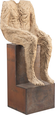 Magdalena Abakanowicz (b. 1930) Figure On Iron Seat, 1988 Burlap and synthetic resin on iron seat