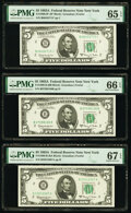 Fr. 1968-B $5 1963A Federal Reserve Notes. B-A and B-B Blocks. PMG Graded Superb Gem Unc 67 EPQ; Gem Uncirculated 66 EPQ...