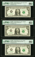 Fr. 1930-B*; F* $1 2003A Federal Reserve Star Notes. PMG Graded Gem Uncirculated 66 EPQ; Gem Uncirculated 65 EPQ; ... (T...