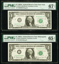 Fr. 1901-B; I $1 1963A Federal Reserve Notes. PMG Graded Superb Gem Unc 67 EPQ; Gem Uncirculated 65 EPQ. ... (Total: 2)