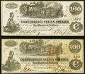 Confederate Notes:1862 Issues, T39 $100 1862 PF-5 Cr. 290; Cr. 294 Extremely Fine.. ... (Total: 2 notes)