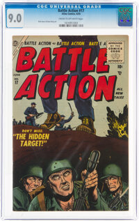Battle Action #17 (Atlas, 1955) CGC VF/NM 9.0 Cream to off-white pages