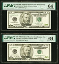 Small Size:Federal Reserve Notes, Fr. 2126-J* $50 1996 Federal Reserve Star Notes. Two Conse...