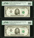 Fr. 1975-B; B* $5 1977A Federal Reserve Notes. PMG Gem Uncirculated 66 EPQ. ... (Total: 2)
