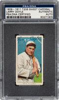 Baseball Cards:Singles (Pre-1930), Signed 1909-11 T206 Sweet Caporal Larry Doyle (With Bat) PSA/DNA Authentic. ...
