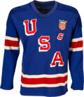 """Hockey Collectibles:Uniforms, 1956 Gene Campbell Game Worn USA International Team Jersey from The Gene Campbell Collection - With Captain's """"C""""...."""