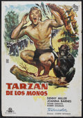 "Movie Posters:Adventure, Tarzan the Ape Man (MGM, 1961). Spanish One Sheet (27"" X 41"").First release in Spain (""Tarzan de los Monos""). Adventure. St..."
