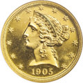 Proof Liberty Half Eagles: , 1905 $5 PR65 NGC. In the world of proof Liberty gold, where 108pieces is a comparatively large mintage, the 1905 half eagl...