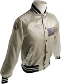 Music Memorabilia:Costumes, Stevie Nicks Signed Tusk Tour Jacket. Pearl-colored nylon jacket with black-and-white trim; has Fleetwood Mac's Tusk Tour pa...