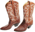 Movie/TV Memorabilia:Costumes, Rex Allen Worn Cowboy Boots. A pair of brown lizard-skin Tony Lama boots owned and worn by the great Republic Pictures' sing...