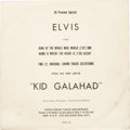 "Music Memorabilia:Recordings, Elvis Presley ""Kid Galahad"" Promo 45 w/Special Sleeve (RCA 118,1962). The sleeve, a ""DJ Preview Special"", indicates the two..."