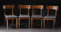 Furniture: English, A Set of Four Fine English Regency Carved Sidechairs. Unknown maker, England. Circa 1820. Mahogany. Unmarked. 33.75 inches... (Total: 4 )