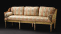 Furniture : Continental, A Swedish Gustavian Settee. Unknown maker, Swedish. Circa1770-1800. Painted and gilded pine, upholstery. Unmarked. 31 inc...
