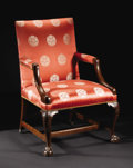 Furniture, An Eighteenth Century Chippendale Style Upholstered Library Chair. Unknown maker, English. Eighteenth Century. Walnut. Unm...