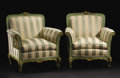 Furniture : Continental, A Pair of Upholstered Rococo-style Venetian Armchairs. Unknownmaker, Venice, Italy. Nineteenth Century. Painted wood. Unm...(Total: 2 )