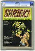 """Magazines:Horror, Shriek #1 (Acme, 1965) CGC VF- 7.5 Off-white to white pages. Vincent Price interviews and photos. """"Secret on Blood Island"""" m..."""